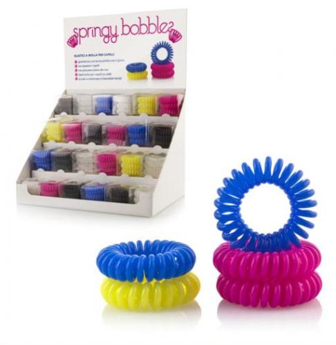 Expo elastico a molla conf da 3 elastici 24 confezioni  colori assortiti